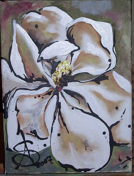 Magnolia Painting - Ruby Beauty Sold by Amanda  Sanford