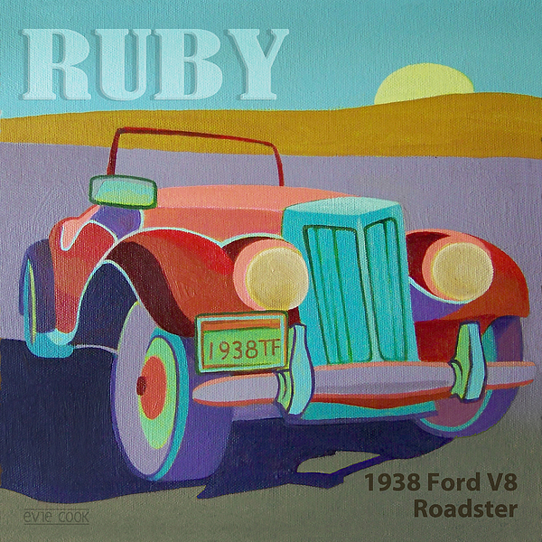 Ford Digital Art - Ruby Ford Roadster by Evie Cook