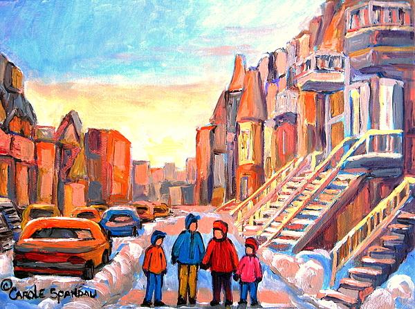 Rue Hotel De Ville Montreal Painting - Rue Hotel De Ville Montreal by Carole Spandau