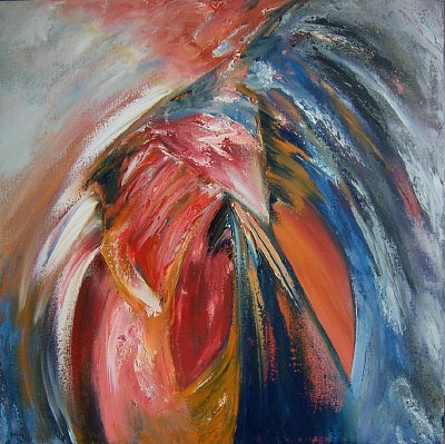 Orange Painting - Ruffling Her Feathers by Scott Spencer
