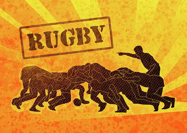 Rugby Digital Art - Rugby Players Engaged In Scrum  by Aloysius Patrimonio