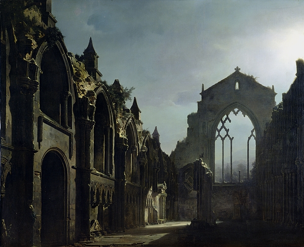 Ruins Of Holyrood Chapel (oil On Canvas) By Louis Jacques Mande Daguerre (1787-1851) Ruin; Remains; Scottish; English Architecture; Gothic; Pointed Arch; Window; Edinburgh; Nocturne; Moonlight; Atmospheric; Ruines; Chapelle; Gothic Painting - Ruins Of Holyrood Chapel by Louis Jacques Mande Daguerre