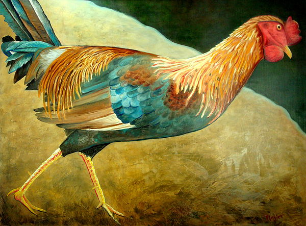 Rooster Painting - Running Rooster by Scott Plaster