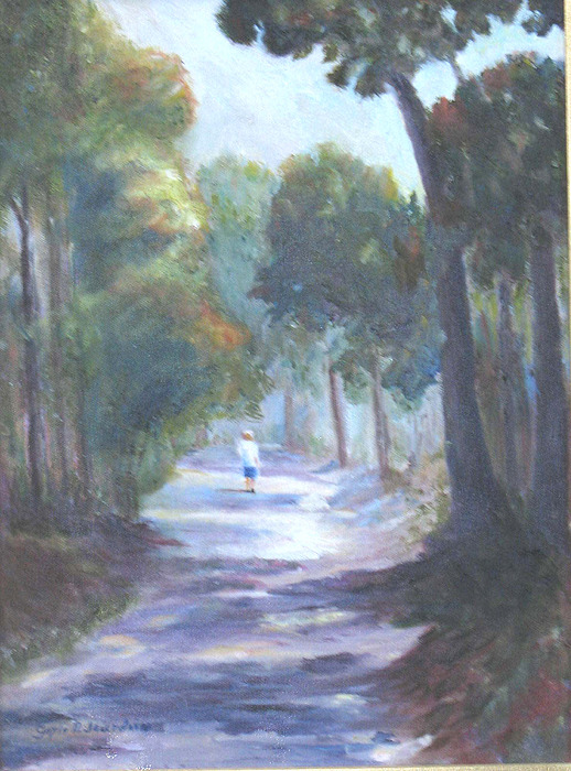 Woodland Path Painting - Russells Path by Gayle  Jourdain