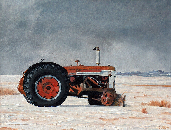 Tractor Painting - Rusted Sentinel by Greg Clibon