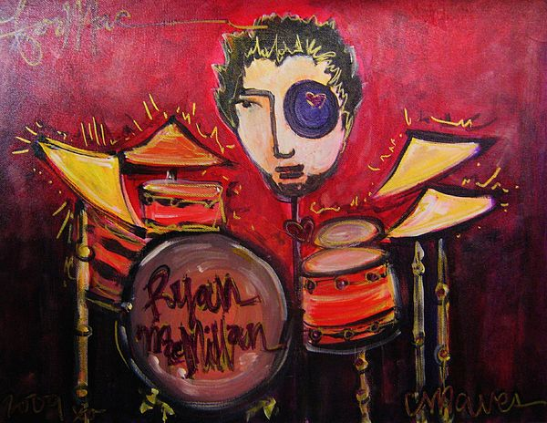 Red Painting - Ryan Macmillan And His Drums by Laurie Maves ART