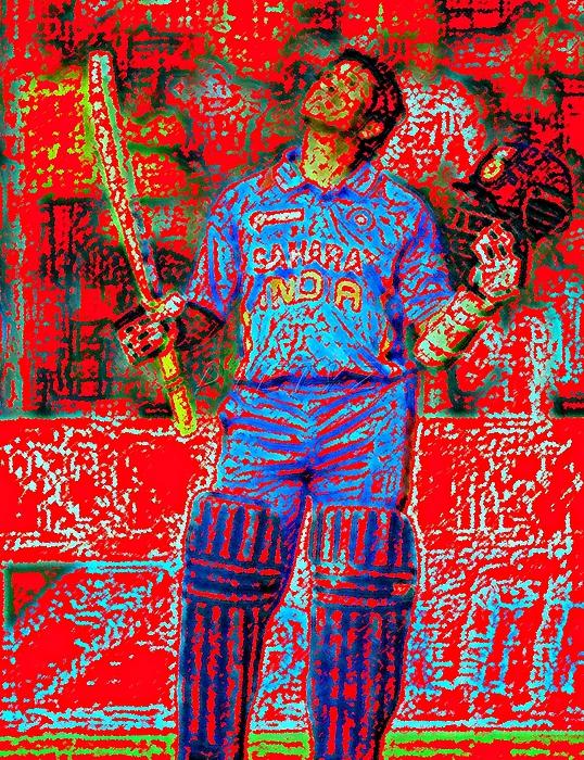 Sachin Digital Art - Sachin Tendulkar-100th 100-god Of Criket by Piety Dsilva