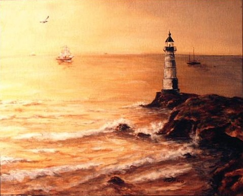 Lighthouse Painting - Safe Harbor by Rusty W Hinshaw