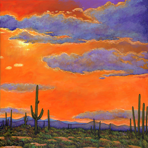 Desert Landscape Painting - Saguaro Sunset by Johnathan Harris