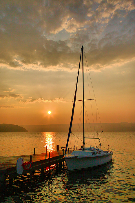 Dawn Photograph - Sailboat And Sunrise by Steven Ainsworth