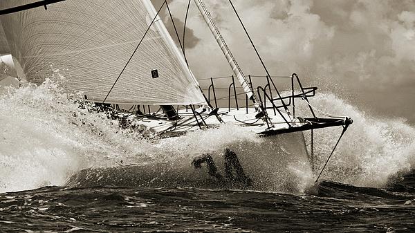 Sailboat Photograph - Sailboat Le Pingouin Open 60 Sepia by Dustin K Ryan