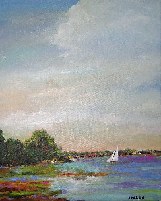 Lake Painting - Sailboat Painting Meet You There by Karen Fields