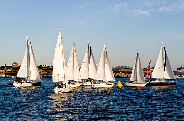 Seattle Photograph - Sailboat Racing by Tom Dowd