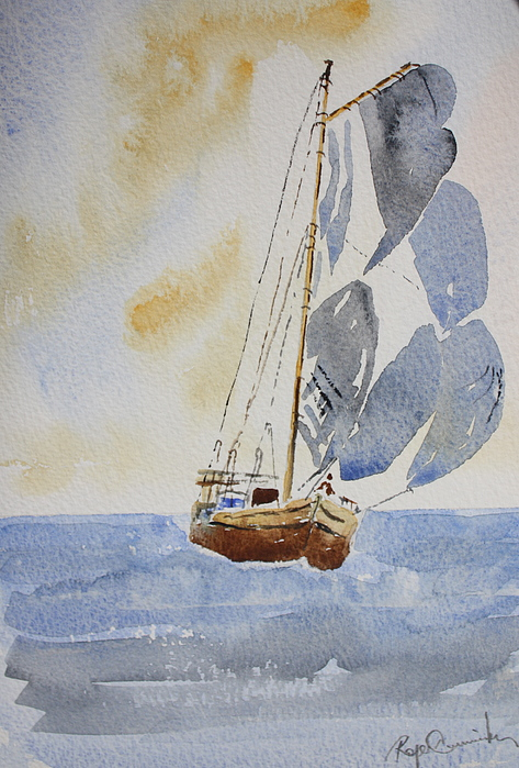 Sailboat Painting - Sailboat by Roger Cummiskey