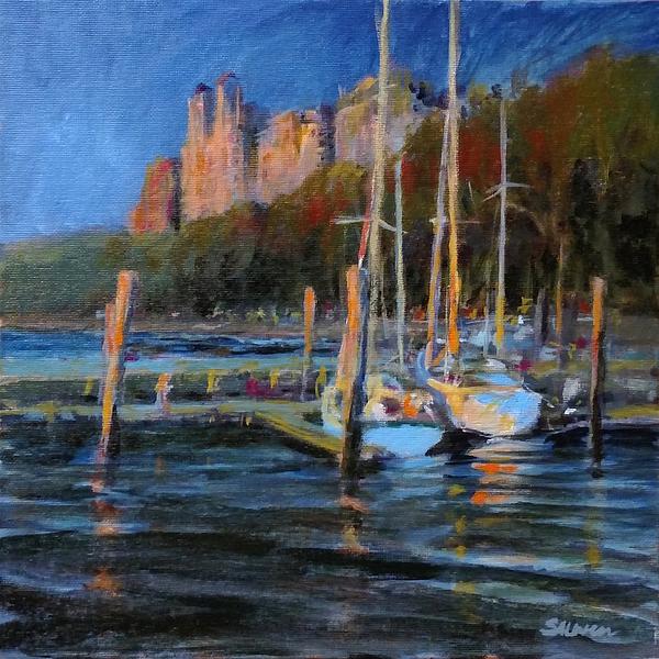 Landscape Painting - Sailboats At Dusk, Hudson River by Peter Salwen