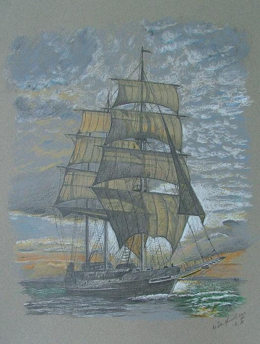 Sea Drawing - Sailing by Dan Hausel