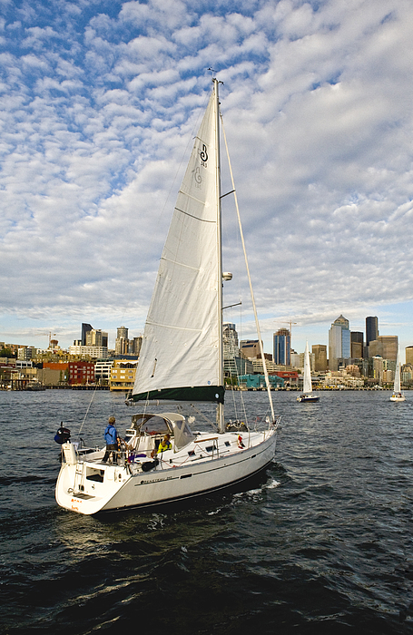 Seattle Photograph - Sailing In Seattle by Tom Dowd