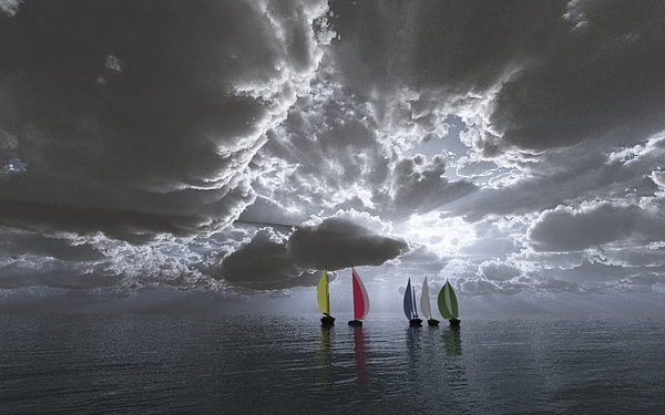 Clouds Digital Art - Sailing by Margaret Wingstedt
