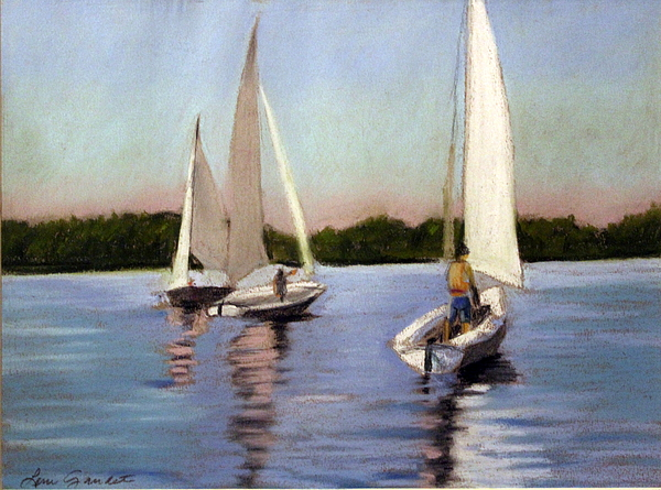 Sailboats Pastel - Sailing On The Charles by Lenore Gaudet