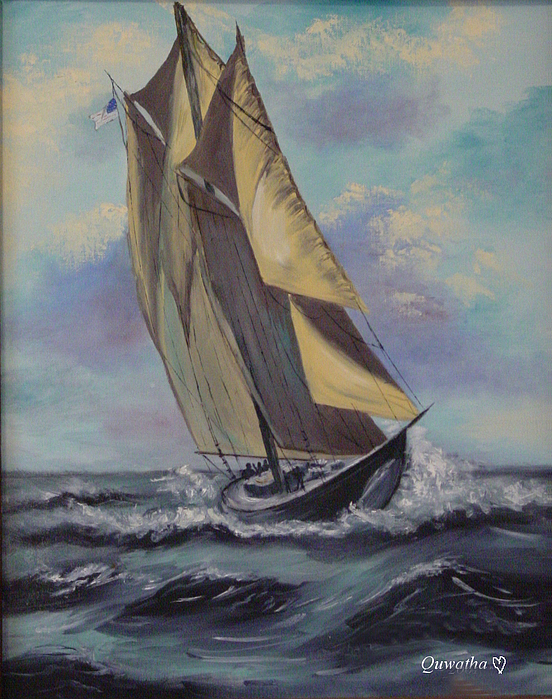 Ocean Painting - Sailing by Quwatha Valentine