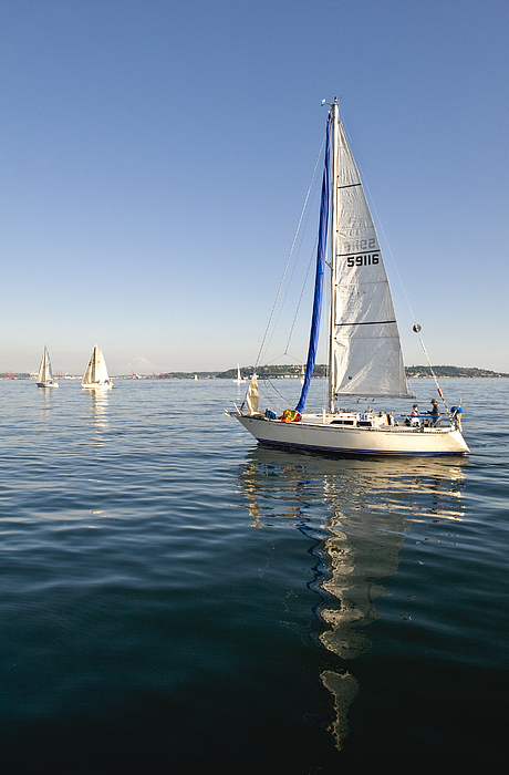 Seattle Photograph - Sailing Reflection by Tom Dowd