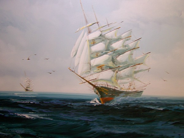 Sailing Painting - Sailing Ships The Beauty Of The Sea by Robert E Gebler