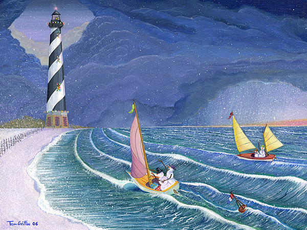 Snowman Painting - Sailing Snowmen by Thomas Griffin