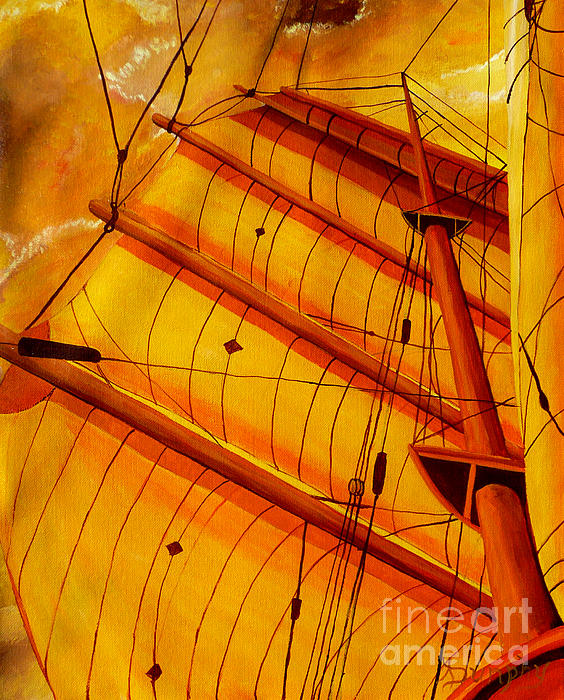 Gold Painting - Sailing Through Gold by Anthony Dunphy
