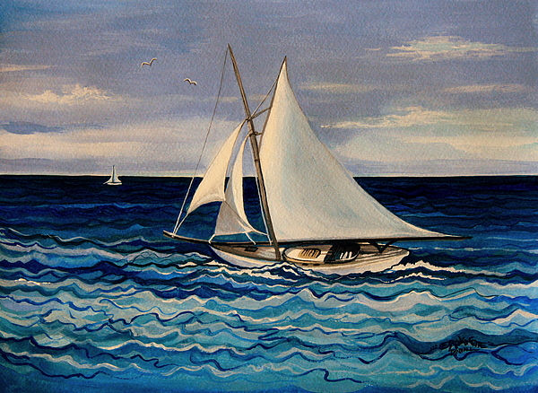Sailing Painting - Sailing With The Waves by Elizabeth Robinette Tyndall