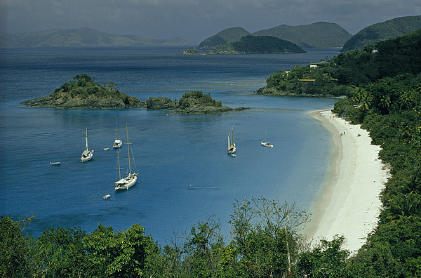 Trunk Bay Photograph - Sailing Yachts Anchor Off Of A Pristine by James L. Stanfield