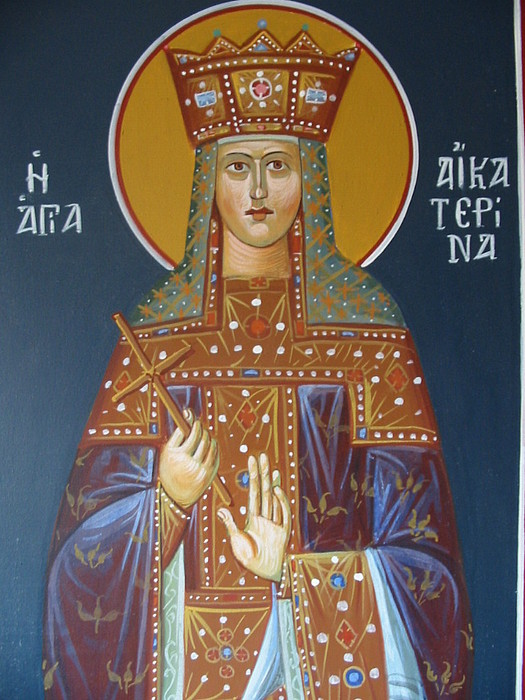 Icons Painting - Saint Aekaterina by George Siaba