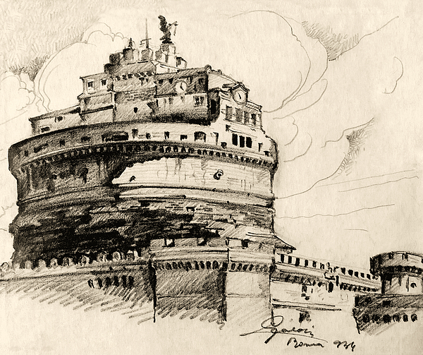 Ancient Drawing - Saint Angel Castle by Odon Czintos
