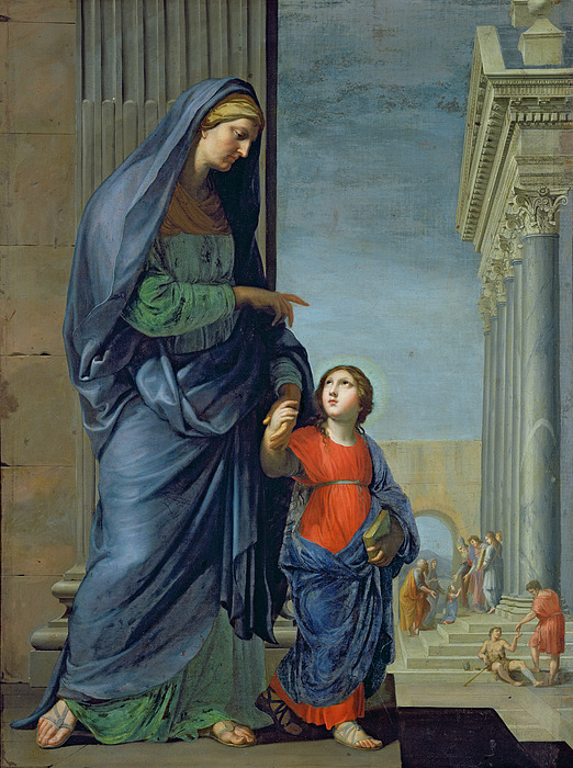 Anne Painting - Saint Anne Leading The Virgin To The Temple by Jacques Stella