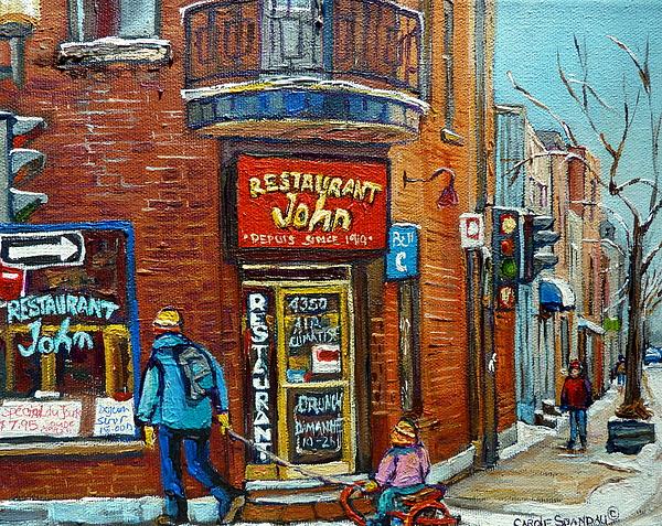 Depanneur Painting - Saint Henri Street In Winter by Carole Spandau