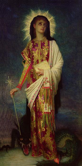 Margaret Painting - Saint Margaret Slaying The Dragon by Antoine Auguste Ernest Herbert
