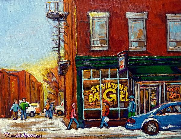 Montreal Painting - Saint Viareur And Park Avenue Bagel Shop by Carole Spandau