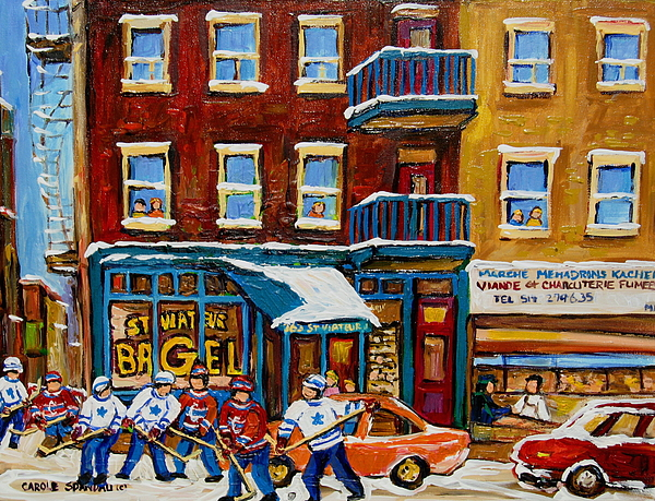 Montreal Painting - Saint Viateur Bagel With Hockey by Carole Spandau
