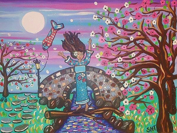 Japanese Art Painting - Sakura Dreams by Stephanie Temple