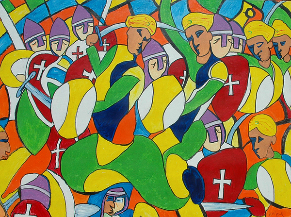 Acrylic Painting - Saladeen And The Crusaders by Richard Wynne