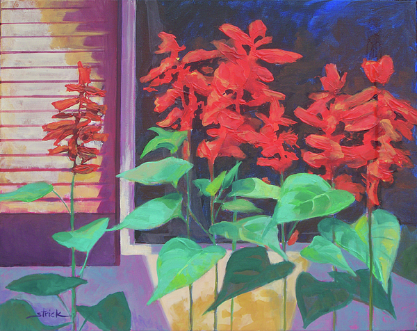 Flowers Painting - Salvia In The Windowbox by Carol Strickland