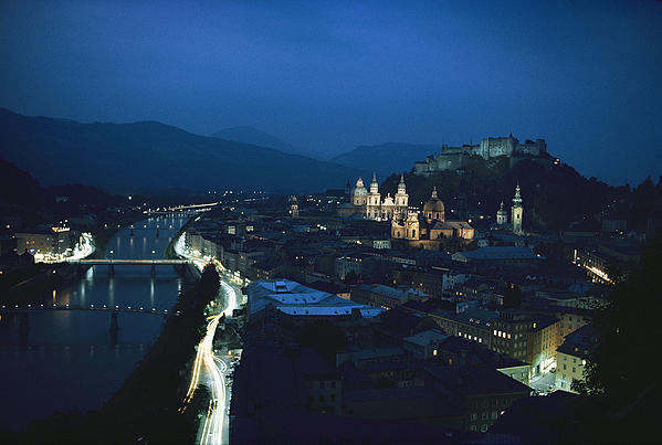 Europe Photograph - Salzburg, Austria, Night View by George F. Mobley