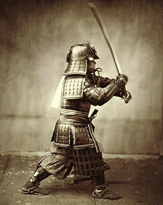 Asia Photograph - Samurai With Raised Sword by F Beato