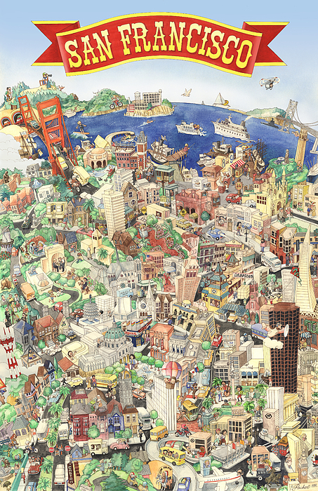 San Francisco Painting - San Francisco - Where East Meets West by Philippe Plouchart