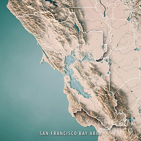 San Francisco Bay Area Usa 3d Render Topographic Map Neutral