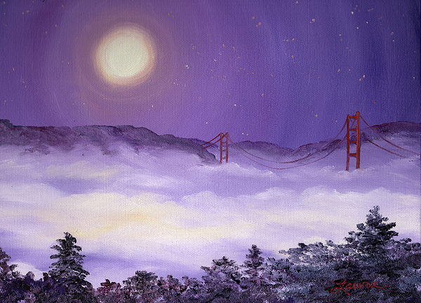 San Francisco Painting - San Francisco Bay In Purple Fog by Laura Iverson