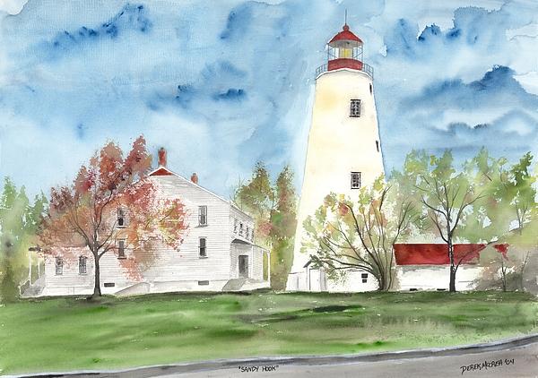 Watercolor Painting - Sandy Hook Lighthouse by Derek Mccrea