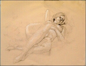 Figure Study Drawing - Sanguine Silk by Charles Peck