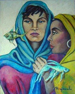 Santa Barbara And Yemaya Painting by Yasemin Raymondo