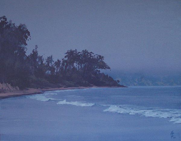 Beach Painting - Santa Barbara Beach At Twilight by Philip Fleischer