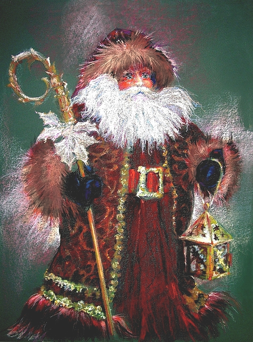 Old World Santa Painting - Santa Claus -dressed All In Fur From His Head To His Foot. by Shelley Schoenherr